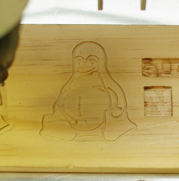 Tux CNC on MDF wood