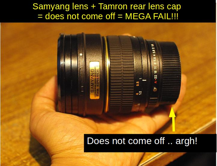 Samyang 85mm F1.4 with Tamron rear lens cap